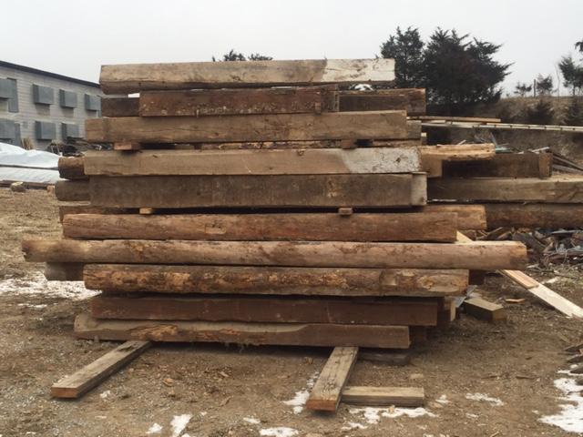 Reclaimed logs from a log home in Shenandoah Valley by the Housewright Shop