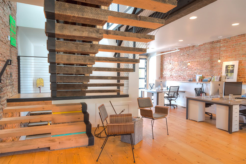 Stalled Wood Stairs And Reclaimed Wood Floors In