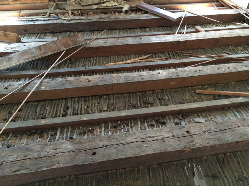 Reclaimed Floor, wood beams from historic home Attic in the Shenandoah Valley