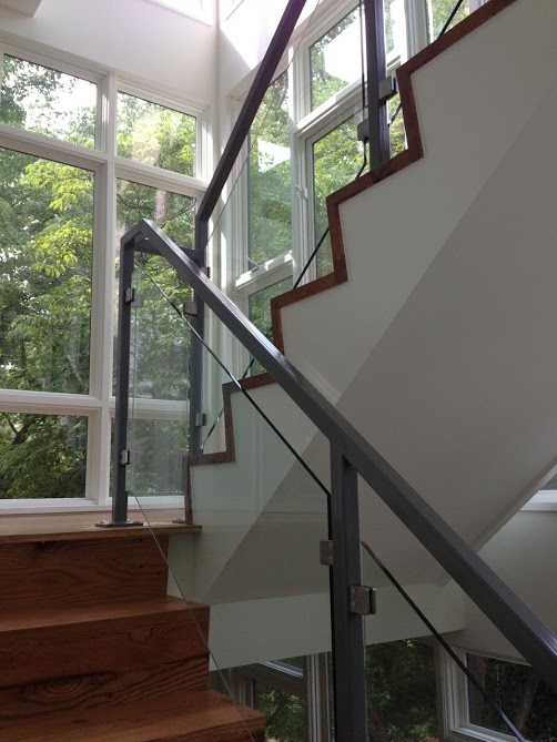 Reclaimed materials used in brand new stair case installed in Northern Virginia by the Housewright Shop