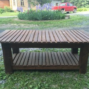 Vintage coffee table built with reclaimed material